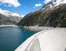 dam and reservoir in the mountains