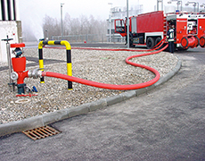 fire hose and fire hydrant